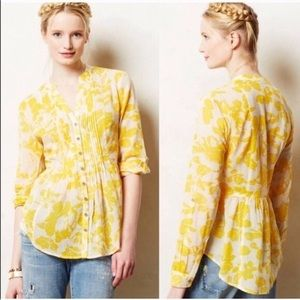 Maeve for Anthropologie yellow floral button up